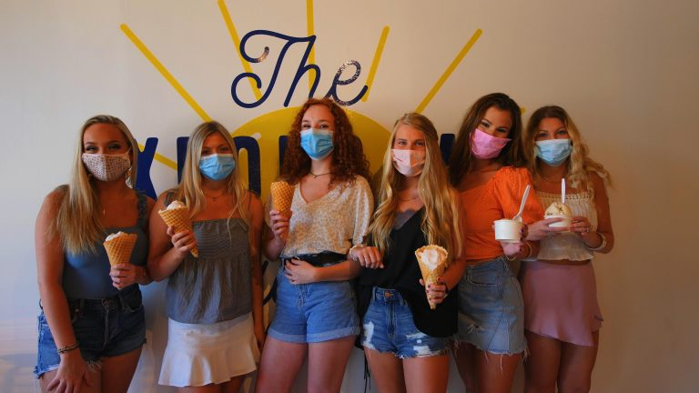 Six Sorority Girls With Ice Cream Cones Wearing Masks